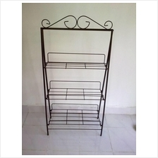ANTIQUE COLOR THREE TIER LAYERS FLOWER IRON STAND DIY 116HT
