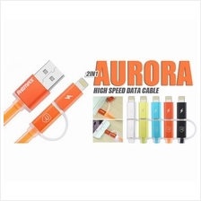 2 In 1 REMAX Aurora Fast Charging LED Flat Cable For Iphone/Android