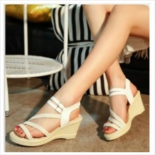 Women Stripe Design Casual Open Toe High-heeled Shoes (2 Color) MT0223