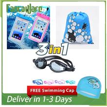 Free Swimming Hat 3 in 1 Children Kid Swimming Package Goggle/Bag/Cove