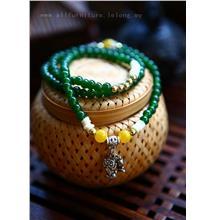 YN-6001	Green agate enamel gold long chain  绿玛瑙&#..