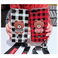 Oppo Neo 7 A33 9 A37 F1S A59 STRIPED Bear Case with Strap