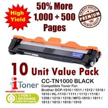Brother TN1000 Grade-A Compatible Toner + 50% Extra Yield (10 Unit)