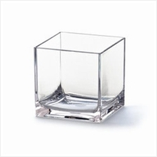 TRANSPARENT SQUARE SHAPE GLASS VASE H 6 CM DIAMETER 6 CM