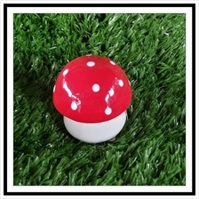 PORCELAIN H 5 CM RED COLOR MUSHROOM DECORATION HOME GARDEN GIFT