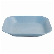 WHEAT STRAW SQUARE DISH FOOD FRUIT PLATE (BLUE)