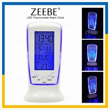 ZEEBE LCD LED Digital Alarm Clock Backlight Thermometer Calendar Auto