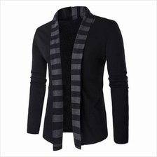SLIM-FIT STRIPED SHAWL COLLAR CARDIGAN (BLACK))