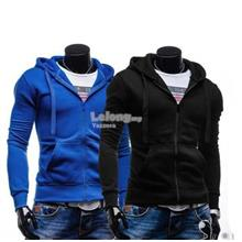 Plus Size 2XL Slim Fit Drawstring Solid Color Zipper Sweater Jacket (T)