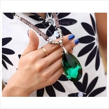 YN-6963	Vintage emerald long necklace  复古绿&#23453..