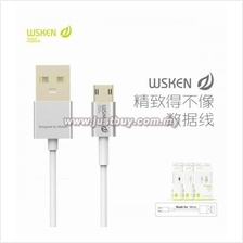 WSKEN Double Side Reverse Plug Fast Charging Micro USB Cable - Silver