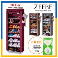 ZEEBE Home Korean 10 Tier Shoe Rack DIY Stackable Dust Cover Cabinet