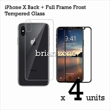 4 Units Premium Quality Full Frame Front + Back Tempered Glass for iPh