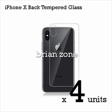 4 Units Premium Quality Back Tempered Glass for iPhone X
