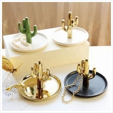 Decorative Cactus Plate Ceramic Ring Holder Jewelry Organizer