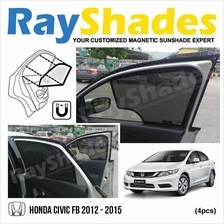 HONDA CIVIC FB 2012-2015 RayShades UV Proof Magnetic Sun Shades *4pcs