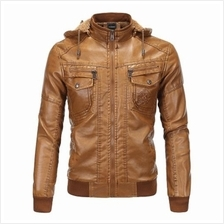 MEN'S CLOTHING LEATHER JACKET VELVET WARM WINTER LEATHER HOODED FUR CO)