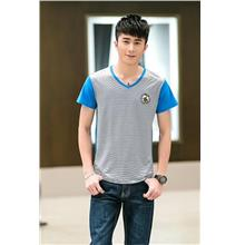 Fashion V Stripe Men T-shirt (Sky Blue)