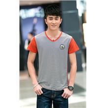 Fashion V Stripe Men T-shirt (Orange)