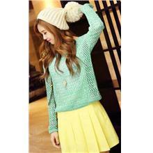 Fashion Loose Hollow Long Sleeve Knit Blouse (Cyan)