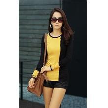 Fashion Mix Colour Show-slim Long-sleeve Blouse (Yellow)