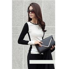 Fashion Mix Colour Show-slim Long-sleeve Blouse (White)