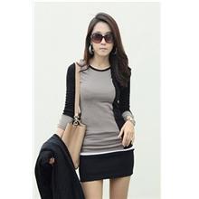 Fashion Mix Colour Show-slim Long-sleeve Blouse (Grey)