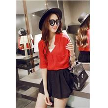 Loose V Medium-sleeve Shirt (Red)