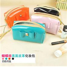 Fashion Ribbon Glossy Patent Leather Cosmetic Bag