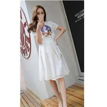 Korea Style Organze Show-slim A-shape Skirt (White)
