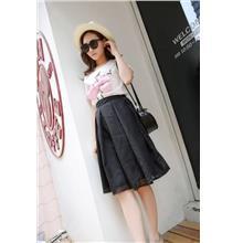 Korea Style Organze Show-slim A-shape Skirt (Black)