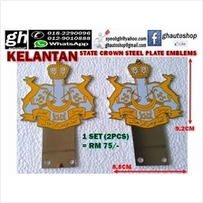 KELANTAN state crown steel logo plate emblems set (2pcs)