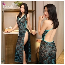 Peacock Emboidery Halter Long Dress Chinese Costume Sleepwear MS280