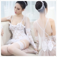 White Lace Wedding Bride Costume Lace Sleepwear MS286