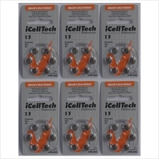 Hearing aid battery 13 zinc air  A 13 batteries pack of 6 pieces X 6