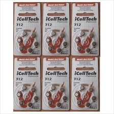 Hearing aid battery 312 zinc air  A 312 batteries pack of 6 pieces X 6