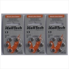 Hearing aid battery 13 zinc air  A 13 batteries pack of 6 pieces X 3