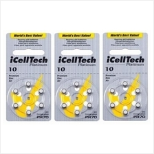 Hearing aid battery 10 zinc air  A 10 batteries pack of 6 pieces X 3