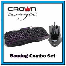 CROWN MICRO Wired Multimedia Gaming Keyboard + Mouse with Lighting DPI