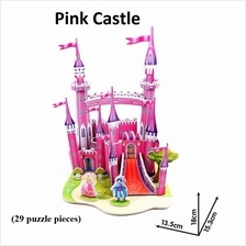 Educational 3D Puzzle DIY Toys Game Gift kids - Pink Castle