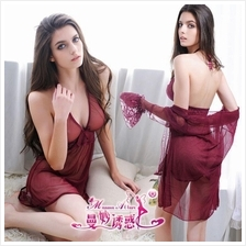 Two Pieces Transparent Robes and Babydoll Dress Sleepwear Set MS296