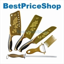 Premiun 6in1 Maifan Kitchen Knive Titanium RoseDesign Knives Set G1 R2