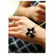 YN-7052	Five flower drops glaze retro necklace  五瓣&#3345..