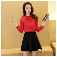 WOMEN''S LONG SLEEVE TOP (RED/BLACK, SIZE M)