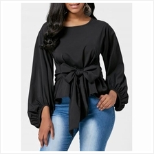 PUFF SLEEVE BELTED BLOUSE (BLACK)