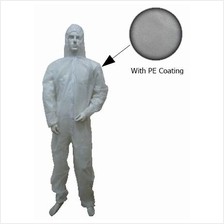 Disposable Non Woven Coverall White W Hood PE Coating FOC Deliv No GST