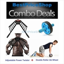 COMBO Adjustable Power Twister Chest Expander Ab Wheel Roller Gym Slim