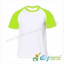 Dryfit Tee with Colour Sleeve (Round Neck) (Green Sleeve) (XL)