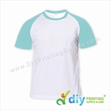 Dryfit Tee with Colour Sleeve (Round Neck) (Blue Sleeve) (XL) (160gsm)
