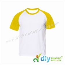 Dryfit Tee with Colour Sleeve (Round Neck) (Yellow Sleeve) (L)